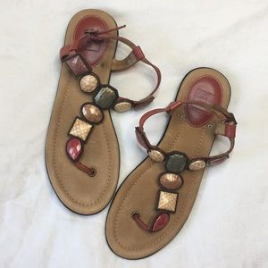 Frye Dani jeweled st leather flat sandals 9